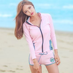 Blue Lagoon - Set: Striped Bikini + Zip Jacket + Shorts