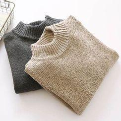 Bonbon - Plain Mock Neck Sweater