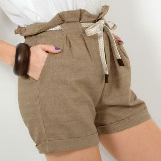 YesStyle Z - Paperbag Waist Shorts with Belt
