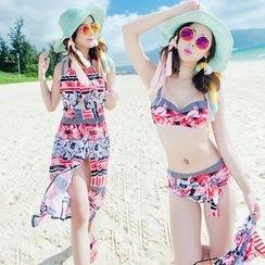 Goldlyre - Patterned Swim Shorts / Set: Printed Bikini + Cover Dress