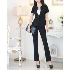 Caroe - Set: Short-Sleeve Blazer + Dress Pants