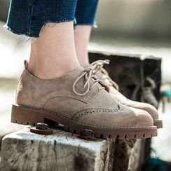 MIAOLV - Faux Suede Brogue Oxfords