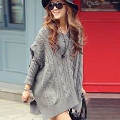 lilygirl - V-Neck Cable-Knit Long Sweater