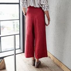 Angel Shine - Elastic-waist Wide-leg Pants