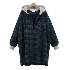 Coronini - Hooded Long Plaid Shirt