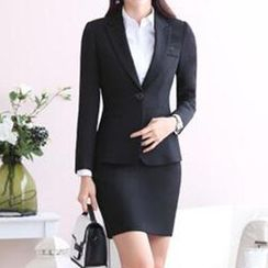 Caroe - Set: Slim-Fit Blazer + Pencil Skirt / Dress Pants