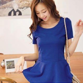 Tokyo Fashion - Short-Sleeve Zip-Back Peplum Top