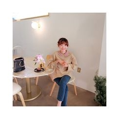 LEELIN - Detachable Lace-Collar Sweatshirt