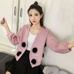 Ashlee - Furry Ball Accent Jacket