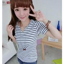 59 Seconds - Short-Sleeve Notched Neck Striped T-Shirt