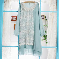Blue Hat - Long-Sleeve Lace Panel Dress