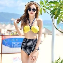 Rachel Swimwear - Dotted Halter 2-piece Swimdress