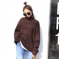 PIPPIN - Turtle-Neck Drop-Shoulder Sweater