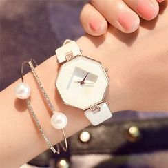 Crystalfa - Hexagon Rhinestone Strap Watch