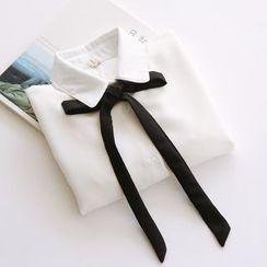 布丁坊 - 蝴蝶结饰长袖雪纺衬衫