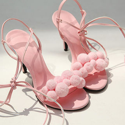 chuu - Pompom Strappy Stiletto-Heel Sandals