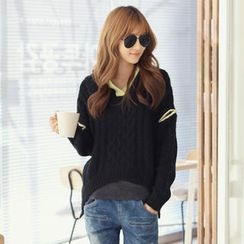 REDOPIN - Hooded Zipped-Sleeve Cable Knit Top