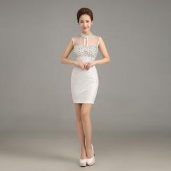 Posh Bride - Sleeveless Cutout Embellished Sheath Cocktail Dress