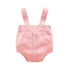 MOM Kiss - Baby Cable-Knit Suspender Bodysuit