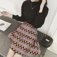 November Rain - Set : Plain Mock-neck Lantern Sleeve Top + Floral Print Skirt