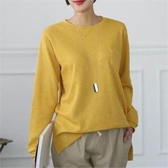 CHICFOX - Pocket-Front Mélange Sweatshirt