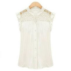 Eloqueen - Ruffle Lace-Panel Blouse