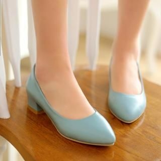 77Queen - Pointy-Toe Chunky-Heel Pumps