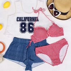 Sewwi - 套裝: 格子比基尼泳衣 + 短款背心 + 短褲