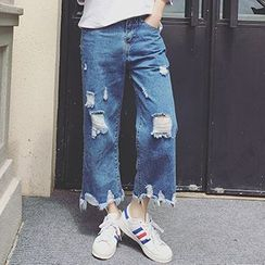 OCTALE - Distressed Cropped Wide Leg Jeans