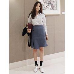 maybe-baby - Ruffle-Detail Midi Skirt