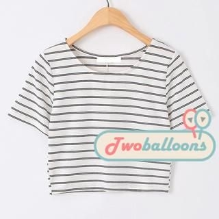 JVL - Short-Sleeve Striped Cropped T-Shirt