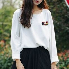 SUYISODA - Long-Sleeve Knit Top with Safety Pin Brooch