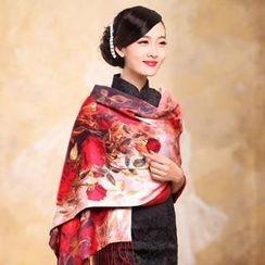 羚羊早安 - 流蘇印花雪紡圍巾