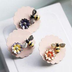 Aiyori - 蜜蜂花朵不對稱耳環
