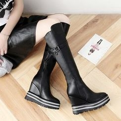 JY Shoes - Buckled Wedged Tall Boots