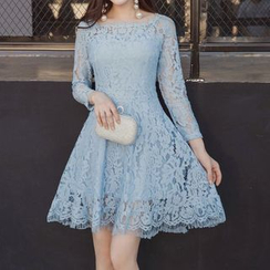 Fashion Street - Long Sleeve A-Line Lace Dress