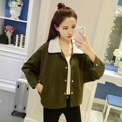 Bloombloom - Fleece Collar Woolen Jacket