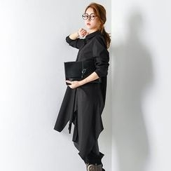 FASHION DIVA - Asymmetric Draped-Hem Shirtdress