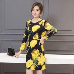 Diosa - Floral Print Long Sleeve Mini Dress