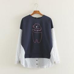 Mushi - Bear Print Mock Two-Piece Pullover
