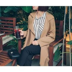 HOTPING - Open-Front Trench Coat With Sash