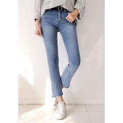 DEEPNY - Washed Semi Boot-Cut Jeans