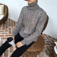Mr. Cai - Turtleneck Cable-Knit Sweater