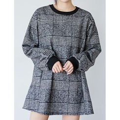 FROMBEGINNING - Puff-Sleeve Glen-Plaid Mini Dress