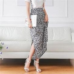 SUVINSHOP - Patterned Maxi Skirt with Suspenders