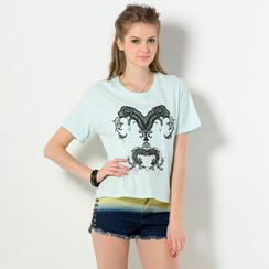 YesStyle Z - Short-Sleeve Embellished Dip Back T-Shirt