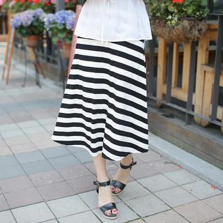 Envy Look - Band-Waist Stripe Midi Skirt