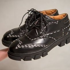 Mancienne - Genuine-Leather Platform Stitched Lace-Up Shoes
