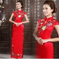 Bridal Workshop - Cap-Sleeve Flower Embroidered Long Cheongsam