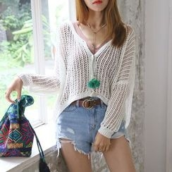 DABAGIRL - Drop-Shoulder Open-Knit Cardigan